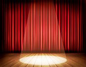 A theater stage with a red curtain and a spotlight.  Raster version