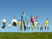 Many Jumping Families On The Grass, Collage