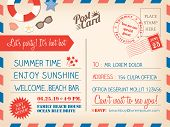 Vintage Summer Holiday Postcard Background Template For Invitation Card