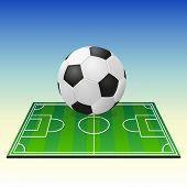 Soccerball on a football field