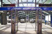 LONDON, UK - MAY 14, 2014 London tube, Canary Wharf station, busiest station in London, bringing abo