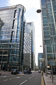 LONDON, CANARY WHARF UK - APRIL 13, 2014: - Modern glass architecture of Canary Wharf business aria,