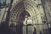 arch and door of the cathedral of Toledo, imperial city. Spain