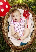 Cute baby girl in basket