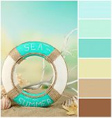 Lifebuoy and sea shells on sand. Color palette with complimentary swatches