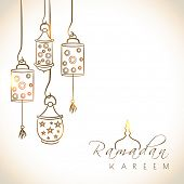 Beautiful greeting card design with shiny arabic lanterns on brown background for holy month of muslim community Ramadan Kareem.