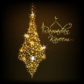 stock photo of kareem  - Beautiful greeting card design with golden decorative light hanging on brown background for celebrations of Ramadan Kareem - JPG