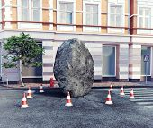 meteorite fell on a city street. 3d concept