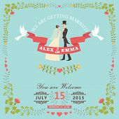 Wedding Invitation With Bride,groom,floral Frame