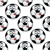 Goofy soccer ball seamless pattern