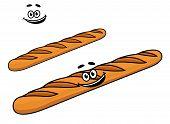 Crusty long cartoon French baguette