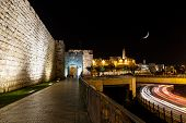 Jerusalem wall and Jaffa Gate at night