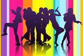 picture of karaoke  - illustration of silhouette of a group friends having fun at karaoke party - JPG