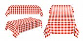 Set Of Rectangular Tablecloth With Red Checkered Pattern