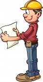 Construction worker looking at blueprints. Vector clip art illustration with simple gradients. All i