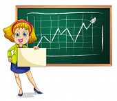 Illustration of a businesswoman standing in front of the blackboard with an empty signage on a white