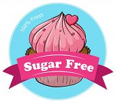 Illustration of a sugar free label with a fresh cupcake on a white background