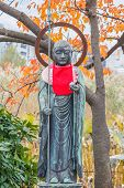 Jizo in front of Benten Hall Temple at Ueno Park in Tokyo