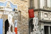 Statue Of Michelangelo's David, Hercules And Cacus  In Florence, Italy