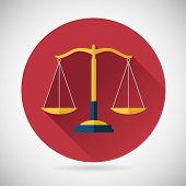 image of justice law  - Law Balance  Symbol Justice scales Icon on Stylish Background Modern Flat Design Vector Illustration - JPG