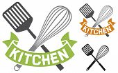 crossed spatula and balloon whisk - kitchen symbol