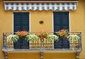 Traditional Italian balcony. Cernobbio, Italy
