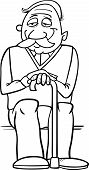 Senior With Cane Coloring Page