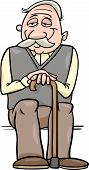 Senior With Cane Cartoon Illustration