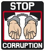 hands in handcuffs - stop corruption sign