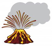 foto of magma  - Volcano mountain top exploding vector illustration on white background - JPG