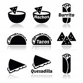 Mexican food icons - tacos, nachos, burrito, quesadilla
