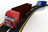 Trucks on freeway. 3d render illustration. Concept of logistics, delivery and transporting by freigh