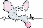 Mouse Peeking Out From Horizontal White Desk - Cartoon Illustration Isolated On White Background