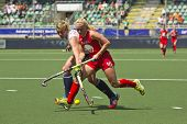 THE HAGUE, NETHERLANDS - JUNE 1: GBR field hockey player  Shipperley Reaches for the ball across USA