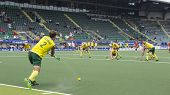 THE HAGUE, NETHERLANDS - JUNE 2: Australian De Young is taking a corner during the Hockey World Cup 2014 in the preliminary match between Australia and Spain (men). AUS beats SPA 3-0