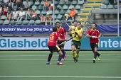 THE HAGUE, NETHERLANDS - JUNE 2: Australian Hayward lifts his stick to control a high ball, surround
