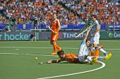 THE HAGUE, NETHERLANDS - JUNE 1 2014: Argentinian Defender Lopez commits a foul on Dutch player Kemp