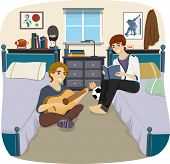 foto of pass-time  - Illustration of a Pair of Male Roommates Passing the Time Together - JPG