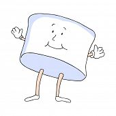 An image of a marshmallow man cartoon character.