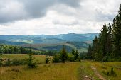 image of dirt road  - Dirt road against the summer landscape in the Ukrainian Carpathian Mountains