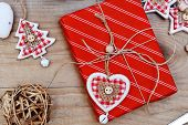 Christmas Gift Box With Heart Shaped Decoration