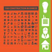 100 construction, business, technology icons, signs, illustrations set, vector