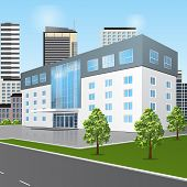 pic of school building  - school building with reflection and input on a background of the street - JPG