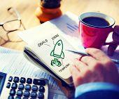 Businessman Writing Start Up Goals Launch Concept