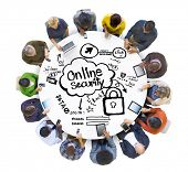 Multiethnic Group of People with Online Security Concept