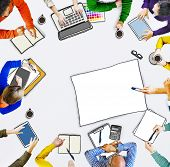 Busy Multiethnic Group of People Brainstorming Illustration