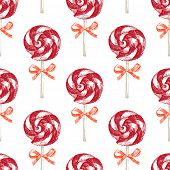 hand drawn seamless pattern with lollipops