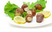 pic of butter-lettuce  - stuffed snails lemon and lettuce leaves on a plate closeup - JPG