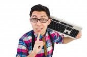 image of nerds  - Computer nerd with keyboard isolated on white - JPG