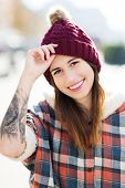 Girl wearing woolen cap